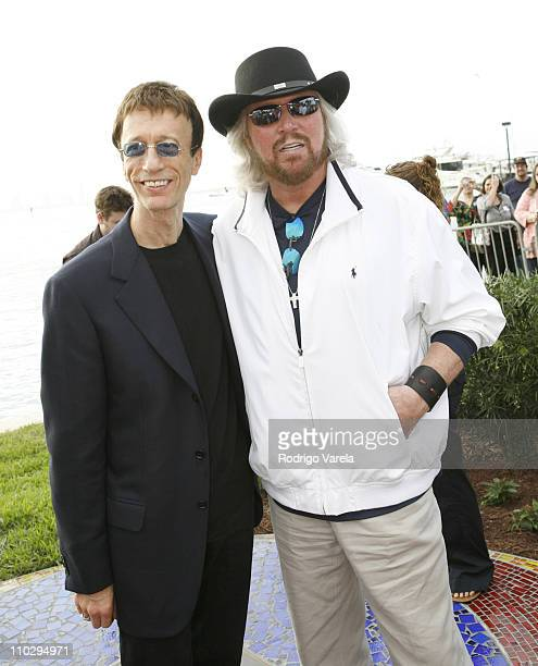 Robin Gibb and Barry Gibb during Maurice Gibb Memorial Unveiling at Maurice Gibb Memorial Park in Miami Beach Florida United States