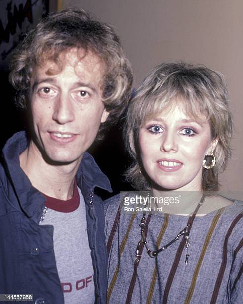 """Robin Gibb and wife Dwina Murphy attend the record party for Robin Gibb """"Secret Agent"""" on July 18, 1984 at Bebop Cafe in New York City."""