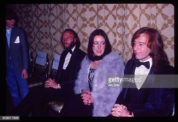 Robin Gibb of the Bee Gees with his wife Molly Hullis at a formal event circa 1970 New York