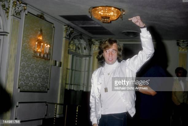 Robin Gibb of the pop group The Bee Gees attends a press conference to promote his movie 'Sgt Pepper's Lonely Hearts Club Band' in 1978 in Los...