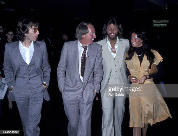 Robin Gibb Robert Stigwood Barry Gibb and wife Linda Gibb attend the taping of The David Frost Show on May 16 1978 in New York City
