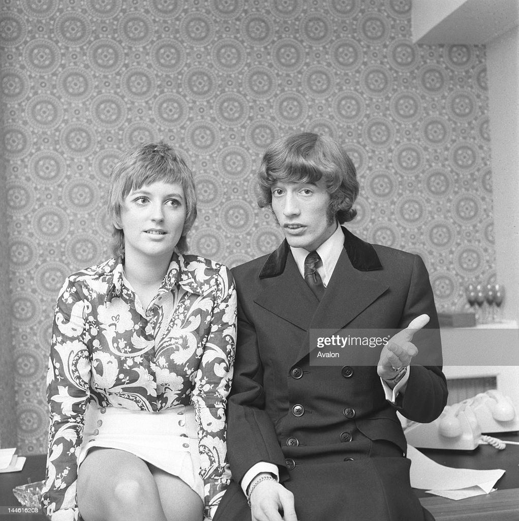 Robin Gibb (of the Bee Gees) with Clare Torry (pop singer); At publicity shoot (arranged by Max Clifford) for the release of Clare Torry's first single, 'Love for Living'. (Robin Gibb discovered Clare, and produced the single.); 17th June 1969;