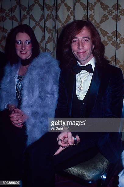 Robin Gibb with his wife Molly Hullis at a formal event circa 1970 New York