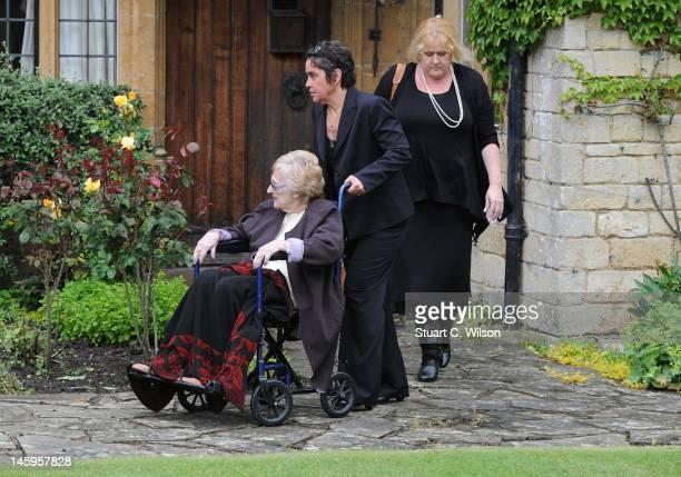 Robin Gibb's mother Barbara Gibb arrives for Robin Gibb's funeral at Priest End, Thame on June 8, 2012 in Oxford, England.