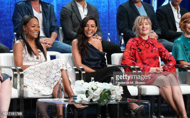 Robin Givens Marisol Nichols and Mädchen Amick from Riverdale speak onstage at the CW Network portion of the Summer 2018 TCA Press Tour at The...