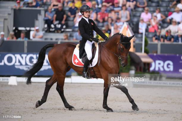 Robin Godel of Switzerland riding Grandeur de Lully CH competes during Day 2 of the Dressage at the Longines FEI Eventing European Championships 2019...