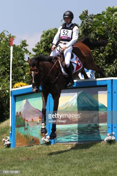 Robin Godel of Team Switzerland riding Jet Set clears a jump during the Eventing Cross Country Team and Individual on day nine of the Tokyo 2020...
