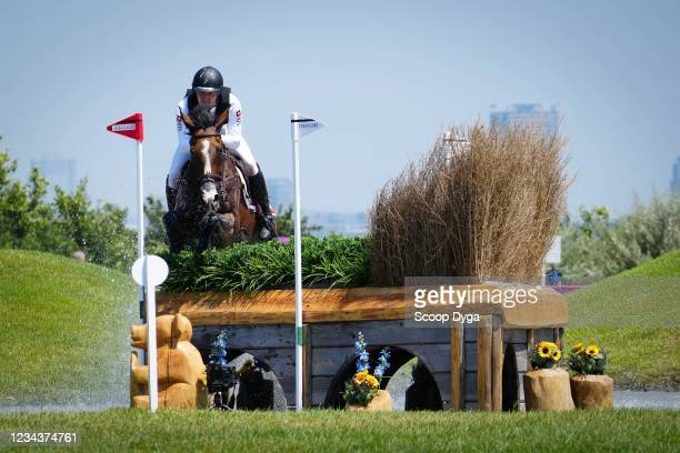 Robin Godel riding Jet Set during the Eventing Cross Country Team and Individual at Sea Forest Cross-Country Course on August 1, 2021 in Tokyo, Japan.