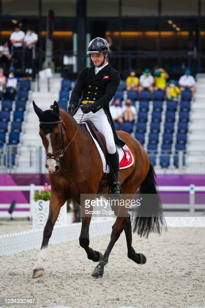 Robin Godel riding Jet Set during the Eventing Dressage Team and Individual Day 2 at Equestrian Park on July 31, 2021 in Tokyo, Japan.