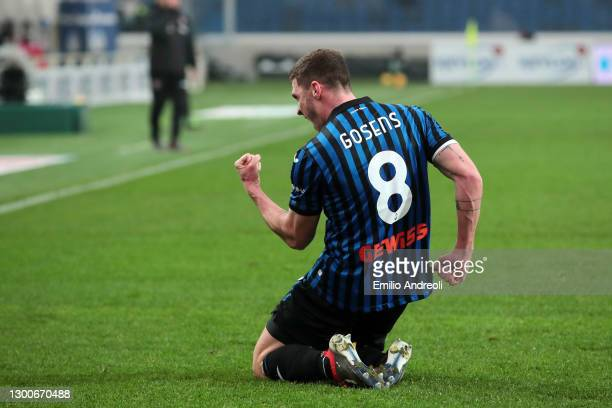 Robin Gosens of Atalanta B.C. Celebrates after scoring their side's second goal during the Serie A match between Atalanta BC and Torino FC at Gewiss...