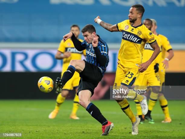 Robin Gosens of Atalanta B.C. Scores his sides third goal during the Serie A match between Atalanta BC and Parma Calcio at Gewiss Stadium on January...