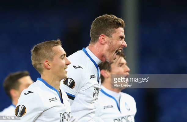 Robin Gosens of Atalanta celebrates at the full time whistle after the UEFA Europa League group E match between Everton FC and Atalanta at Goodison...