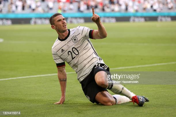Robin Gosens of Germany celebrates after scoring their side's fourth goal during the UEFA Euro 2020 Championship Group F match between Portugal and...