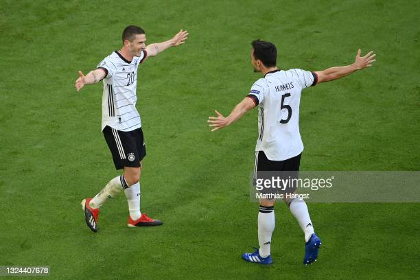 Robin Gosens of Germany celebrates with Mats Hummels after scoring their side's fourth goal during the UEFA Euro 2020 Championship Group F match...