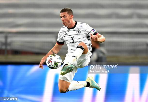 Robin Gosens of Germany controls the ball during the UEFA Nations League group stage match between Germany and Spain at Mercedes-Benz Arena on...