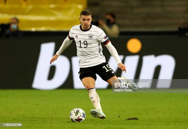 Robin Gosens of Germany controls the ball during the UEFA Nations League group stage match between Germany and Switzerland at RheinEnergieStadion on...