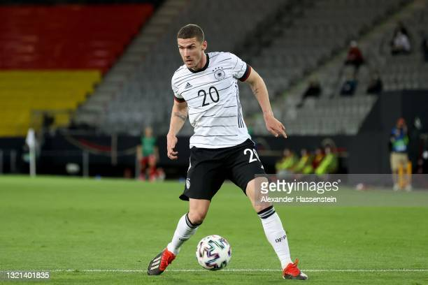 Robin Gosens of Germany runs with the ball during the international friendly match between Germany and Denmark at Tivoli Stadion on June 02, 2021 in...