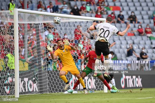 Robin Gosens of Germany scores their side's fourth goal past Rui Patricio of Portugal during the UEFA Euro 2020 Championship Group F match between...