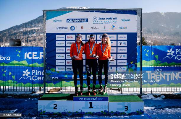 Robin Groot of the Netherlands with the silver medal Femke Kok with the gold medal and Michelle de Jong with the bronze medal celebrate after the...