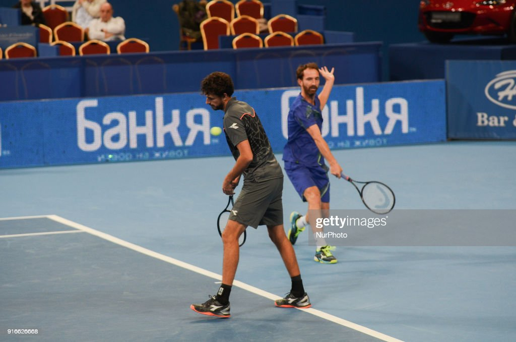 Robin Haase and Matwe Middelkoop of Netherlands celebrates their win point. Robin Haase and Matwe Middelkoop of Netherlands win their 1/ 2 final match over Divij Sharan(India) and Scott Lipsky(USA) 64 62, during DIEMAXTRA Sofia Open 2018 in Arena Armeec Hall in Sofia, Bulgaria on February 10, 2018