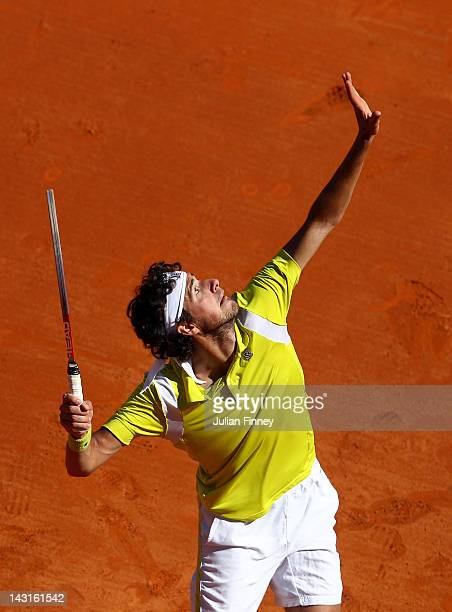 Robin Haase of Holland in action in his match against Novak Djokovic of Serbia during day six of the ATP Monte Carlo Masters on April 20 2012 in...