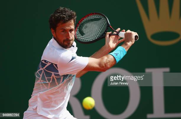 Robin Haase of Holland plays a shot in his match against Andrey Rublev of Russia during day two of ATP Masters Series Monte Carlo Rolex Masterat...