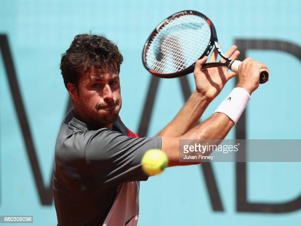 Robin Haase of Netherland in action against Dan Evans of Great Britain during day three of the Mutua Madrid Open tennis at La Caja Magica on May 8...