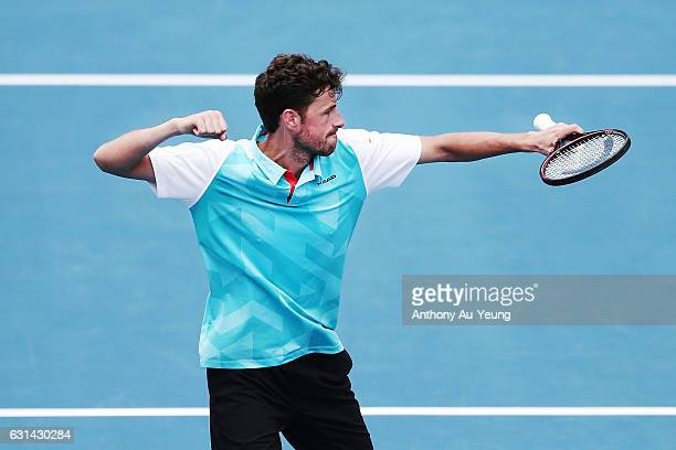 Robin Haase of Netherlands celebrates after winning his match against David Ferrer of Spain on day ten of the ASB Classic on January 11, 2017 in...