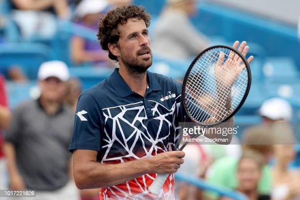 Robin Haase of Netherlands celebrates his win against Alexander Zverev of Germany during the Western Southern Open at Lindner Family Tennis Center on...