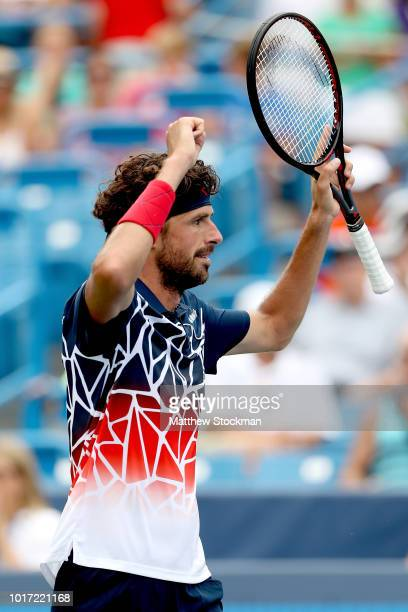 Robin Haase of Netherlands celebrates match point against Alexander Zverev of Germany during the Western Southern Open at Lindner Family Tennis...