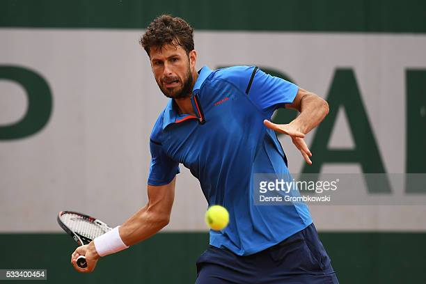 Robin Haase of Netherlands hits a forehand during the Mens Singles first round match against Jack Sock of the United States on day one of the 2016...