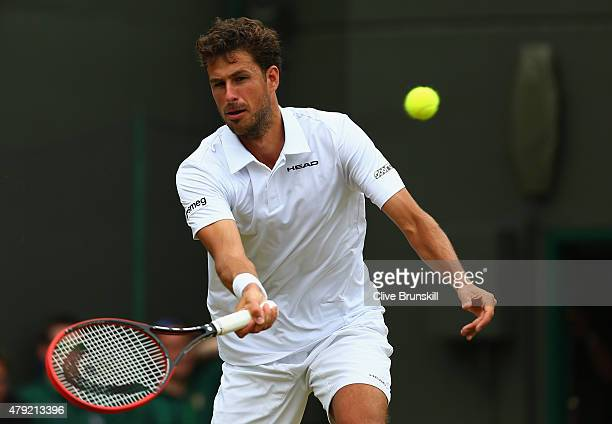 Robin Haase of Netherlands plays a forehand during his Gentlemen's Singles second round match against Andy Murray of Great Britain during day four of...