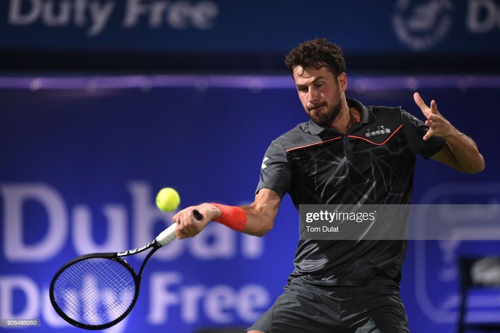 Robin Haase of Netherlands plays a forehand during his match against Malek Jaziri of Tunisia on day three of the ATP Dubai Duty Free Tennis Championships at the Dubai Duty Free Stadium on February 28, 2018 in Dubai, United Arab Emirates.