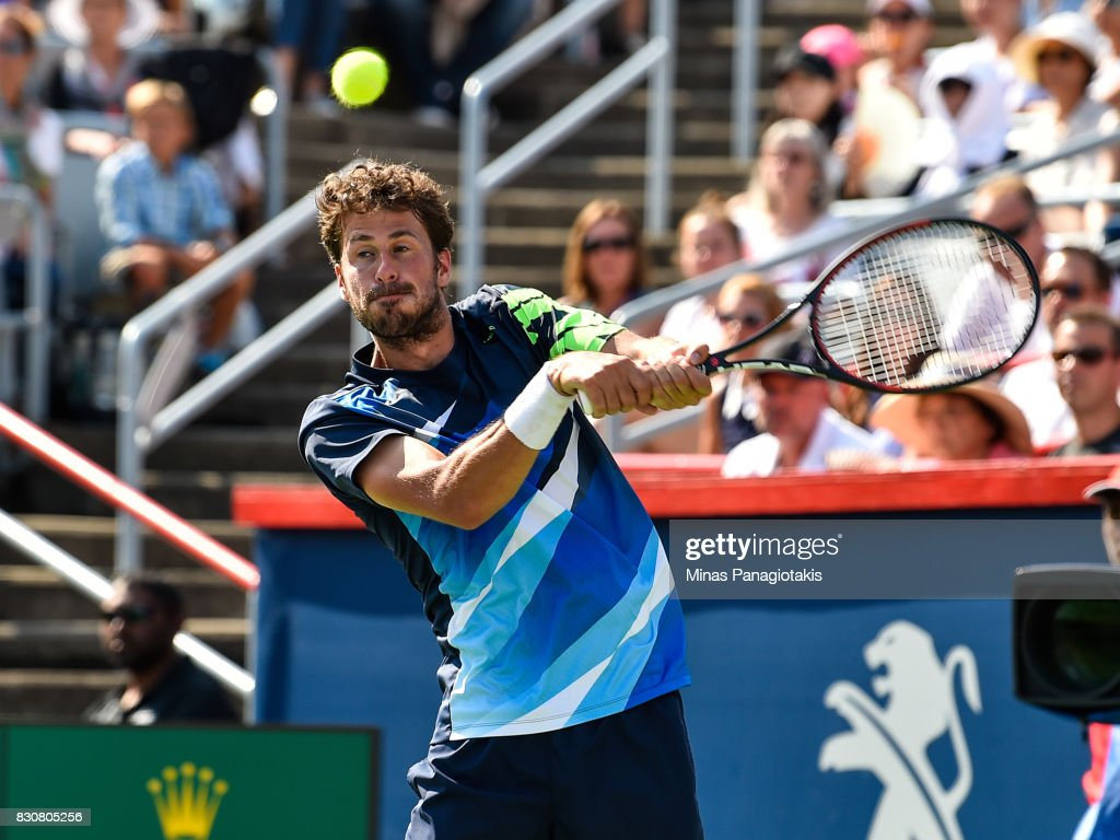 Robin Haase of Netherlands prepares to hit a return against Roger Federer of Switzerland during day nine of the Rogers Cup presented by National Bank at Uniprix Stadium on August 12, 2017 in Montreal, Quebec, Canada.