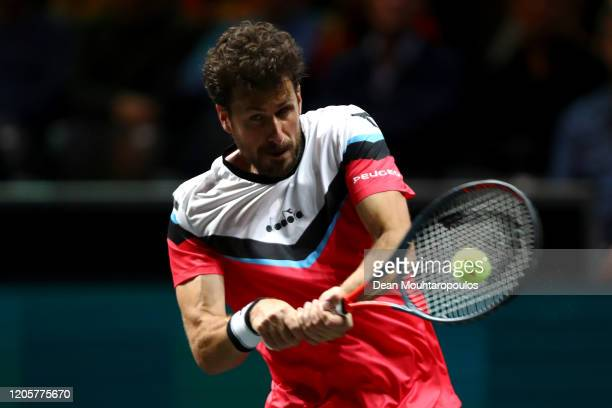 Robin Haase of Netherlands returns a backhand against David Goffin of Belgium during Day 5 of the ABN AMRO World Tennis Tournament at Rotterdam Ahoy...