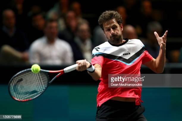 Robin Haase of Netherlands returns a forehand against David Goffin of Belgium during Day 5 of the ABN AMRO World Tennis Tournament at Rotterdam Ahoy...
