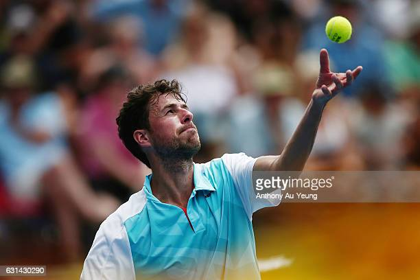 Robin Haase of Netherlands serves in his match against David Ferrer of Spain on day ten of the ASB Classic on January 11, 2017 in Auckland, New...