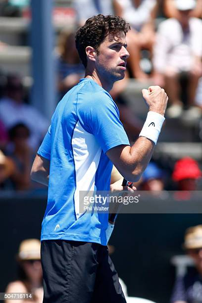 Robin Haase of the Netherlands celebrates a point against Kevin Anderson of South Africa on Day 3 of the ASB Classic on January 13 2016 in Auckland...