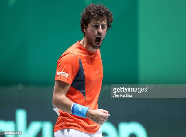 Robin Haase of The Netherlands celebrates during Day 2 of the 2019 Davis Cup at La Caja Magica on November 19, 2019 in Madrid, Spain.
