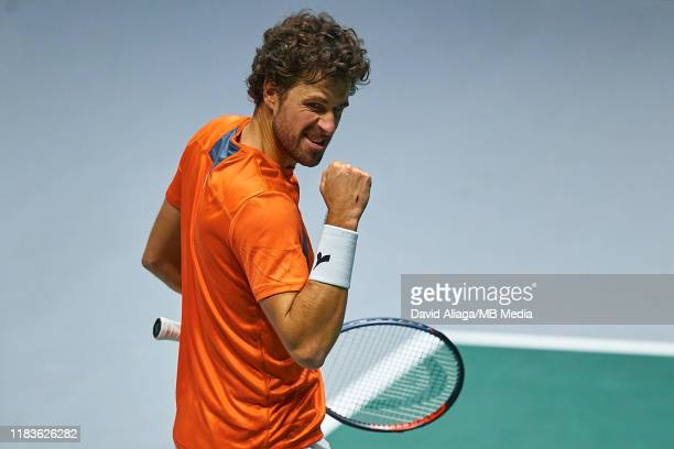 Robin Haase of The Netherlands celebrates during his match against Dan Evans of Great Britain during Day Three of the 2019 Davis Cup at La Caja...
