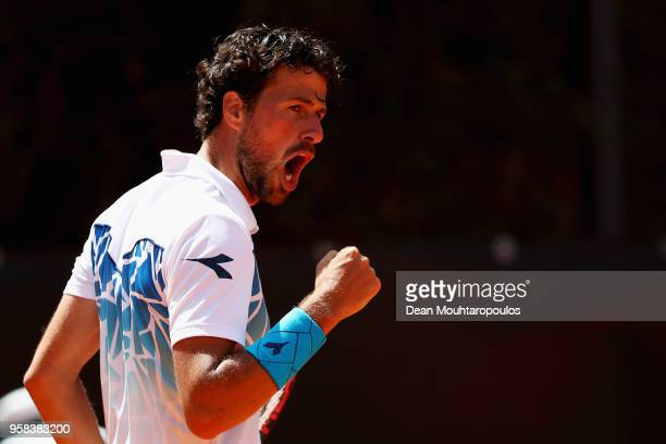 Robin Haase of the Netherlands celebrates winning a point in his match against Daniil Medvedev of Russia during day two of the Internazionali BNL...