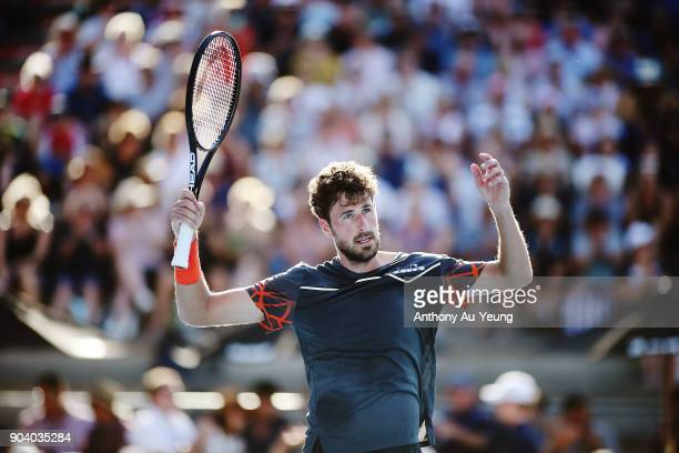 Robin Haase of the Netherlands celebrates winning the first set in his semi final match against Roberto Bautista Agut of Spain during day five of the...