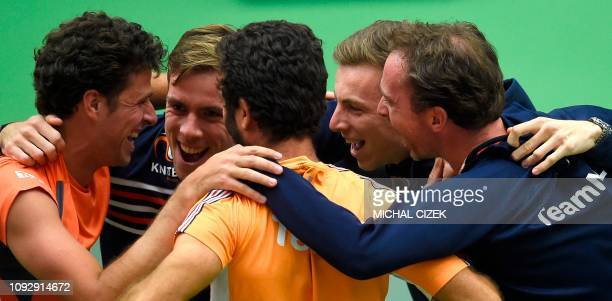 Robin Haase of the Netherlands celebrates with his team mates during the Davis Cup qualifiers Tennis match Czech Republic vs Netherlands in Ostrava...