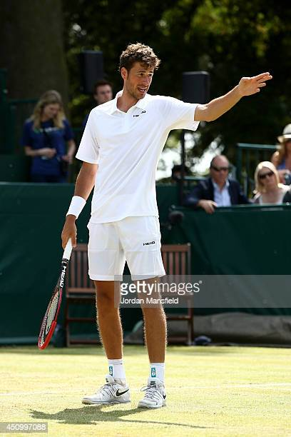 Robin Haase of the Netherlands gestures after a shot during his trophy match against JanLennard Struff of Germany on day five of The Boodles Tennis...