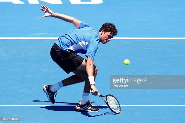 Robin Haase of the Netherlands plays a backhand against Kevin Anderson of South Africa on Day 3 of the ASB Classic on January 13 2016 in Auckland New...