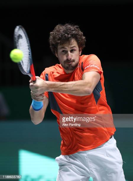Robin Haase of The Netherlands plays a backhand during Day 2 of the 2019 Davis Cup at La Caja Magica on November 19, 2019 in Madrid, Spain.
