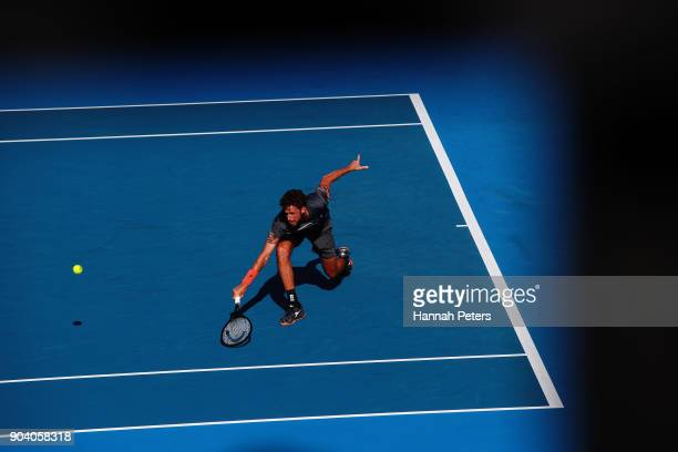 Robin Haase of the Netherlands plays a backhand during his semi final match against Roberto Bautista Agut of Spain during day five of the 2018 ASB...
