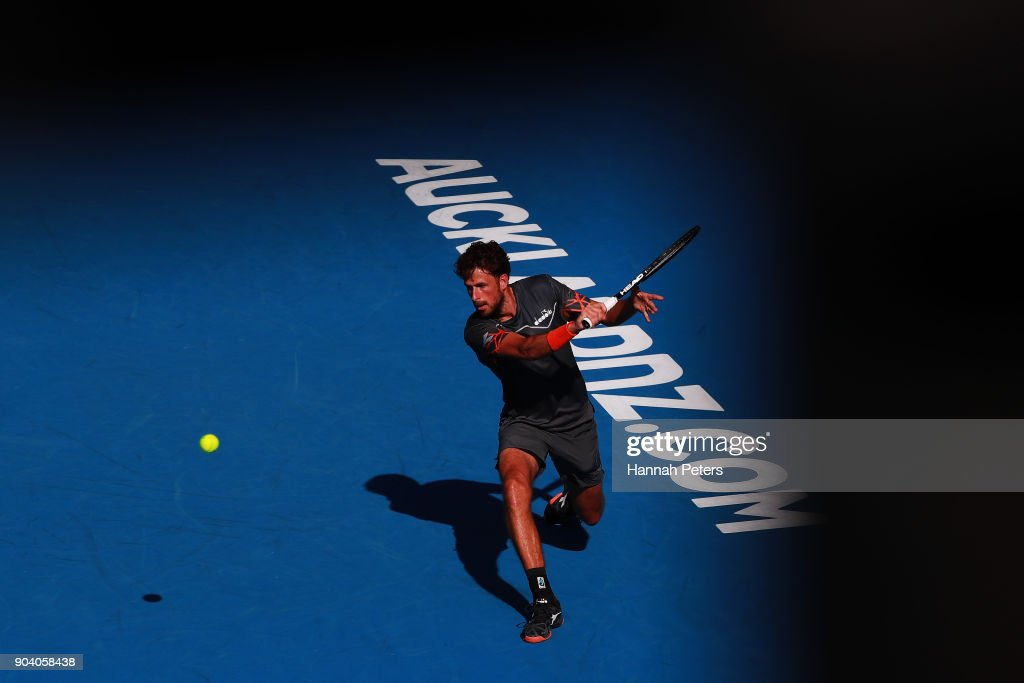 Robin Haase of the Netherlands plays a backhand during his semi final match against Roberto Bautista Agut of Spain during day five of the 2018 ASB Men's Classic at the ASB Tennis Centre on January 12, 2018 in Auckland, New Zealand.