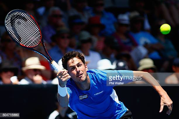 Robin Haase of the Netherlands plays a forehand against Kevin Anderson of South Africa on Day 9 of the ASB Classic on January 13, 2016 in Auckland,...