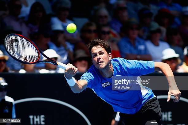 Robin Haase of the Netherlands plays a forehand against Kevin Anderson of South Africa on Day 3 of the ASB Classic on January 13, 2016 in Auckland,...